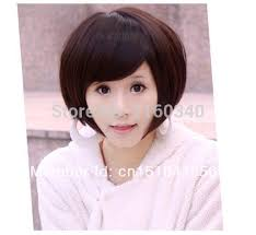 wigs short hairstyles round face new women s short hair wig oblique bangs bobo rinka hairstyle