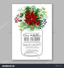 Wedding Invitation Card Samples Wedding Invitation Card Template With Winter Bridal Bouquet Wreath