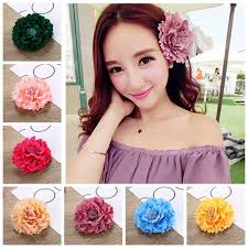 flower hair clip 2018 boho silk flower hairclip straw hat peony flower