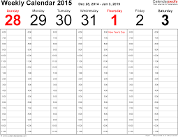 weekly calendar 2015 for pdf 12 free printable templates