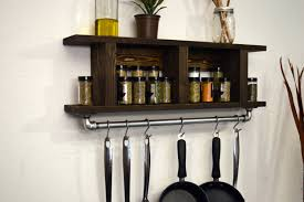cabinets u0026 storages dark brown oak wooden wall mount spice racks