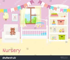 Baby Room Interior by Baby Room Interior Flat Design Newborn Stock Vector 533568070