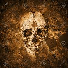 horror halloween background halloween background with grunge wall and skull stock photo