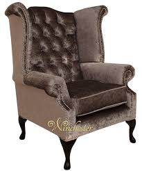 Velvet Wingback Chair Chesterfield Queen Anne High Back Wing Chair Boutique Silver