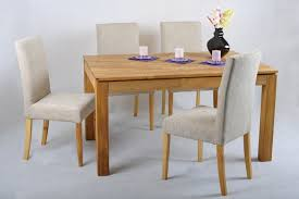 Oak Dining Table And Fabric Chairs Oak Extending Dining Table And Fabric Chairs Set Ivory Funique