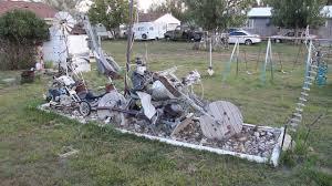 biker bill yard art in medicine bow wyoming lots of electrical