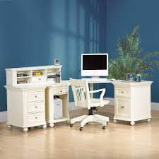 classic white lacquer oak wood corner computer desk with short