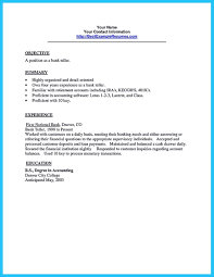 Objective On Resume For Bank Teller Resume For Teller Position Free Resume Example And Writing Download