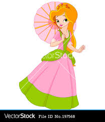 cute cartoon princess beautiful princess summer vector