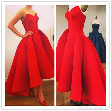 women luxury dresses red strapless prom ball cocktail party dress