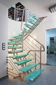 circular staircase glass steps metal frame without risers