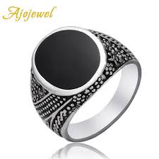 silver class rings images Ajojewel new sales on men class rings silver color black stone jpg