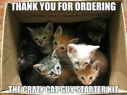 Crazy Cat Meme - thank you for ordering the crazy cat guy starter kit cats
