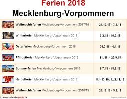 Kalender 2018 Feiertage Mv Ferien Mecklenburg Vorpommern 2018 übersicht Der Ferientermine