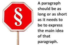 paragraph length in compositions and reports