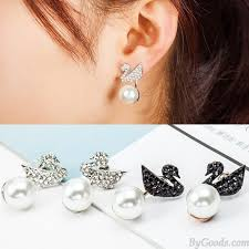 ear studs images fashion swan hanging pearl ear drop shining animal earring studs