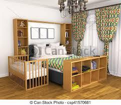 chambre a coucher bébé berceuse bed lit localisé parents illustration
