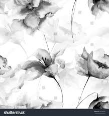 seamless wallpaper flowers watercolor illustration monochrome