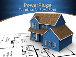powerpoint template a 3d house on a white paper with a house blue