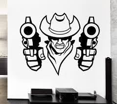 high quality cowboys wall decal buy cheap cowboys wall decal lots new fashion wall decal bandit cowboy robber revolver hat east duel vinyl stickers free shipping