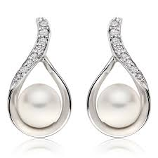 diamond and pearl earrings 9ct white gold diamond and freshwater cultured pearl earrings