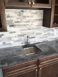 kitchen stacked stone backsplash faux brick wall tiles veneer red
