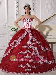 sweet fifteen dresses wine and white quinceanera dress strapless organza appliques