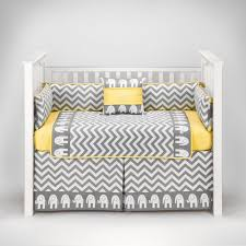 Grey And Yellow Crib Bedding Elephant Chevron Zig Zag Gray Yellow Baby Bedding