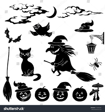 halloween black background pumpkin halloween cartoon set black silhouette on stock vector 113541601