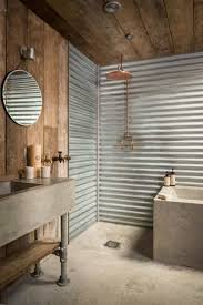 rustic bathroom designed with wooden combined tin materials and