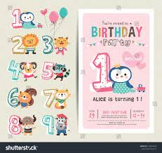 Invitation Cards Birthday Party Birthday Anniversary Numbers Cute Animals Birthday Stock Vector