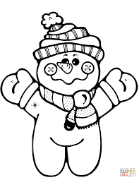 happy snowman holding up a christmas present coloring page free