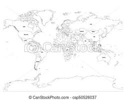 world map black and white with country names pdf vector political map of world black outline on white vectors