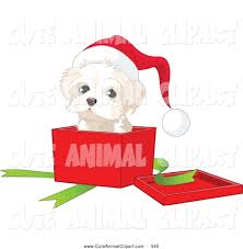 vector clip art of a puppy sitting in a christmas gift box by