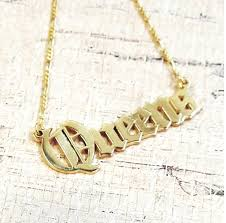 Double Plated Gold Name Necklace Old English Name Necklace Gothic Name Necklace Olde English