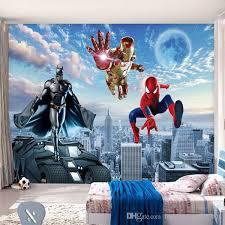 Batman Boys Bedroom Custom 3d Photo Wallpaper Batman Iron Man Wallpaper Spider Man