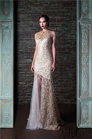 evening dresses for weddings white and gold lace mermaid evening dress 2017 custom