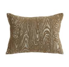 Faux Gold Beaded Faux Bois Throw Pillow