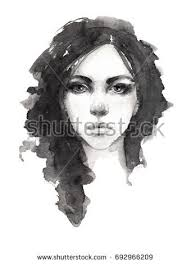 portrait sketch beautiful young serious stock illustration