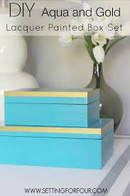 diy home decor aqua and gold lacquer paint box set setting for four