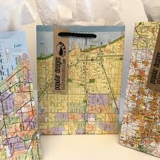 Map Wrapping Paper 3 Chicago Illinois Map Gift Bags Repurposed Map Gift Wrap