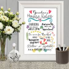 mothers day gift grandma u0027s house rules grandma printable