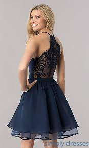 cocktail dresses v neck chiffon homecoming dress with lace back