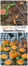 tricks for your treats tootsie roll witch shoe cupcake toppers