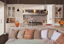 white l shaped kitchen islands integrated with curved sofa bench