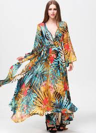 multicolor v neck long sleeve floral maxi dress emmacloth women