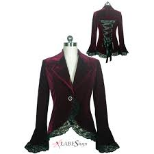 victorian velvet jacket in deep burgundy with lace trim