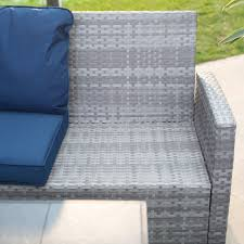 Slate Top Patio Table by Belham Living Brookville All Weather Wicker Sectional With Gray