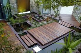 small japanese garden design ideas with pond and wooden deck small