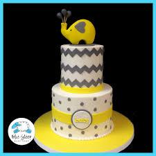 grey u0026 yellow elephant and chevron baby shower cake nj